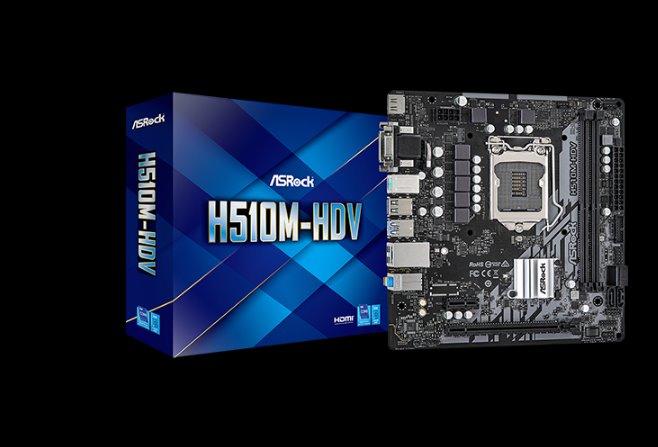 ASROCK H510M-HDV (intel 1200, 2xDDR4 3200MHz, 4xSATA3, VGA+DVI +HDMI, 1xGLAN, mATX)