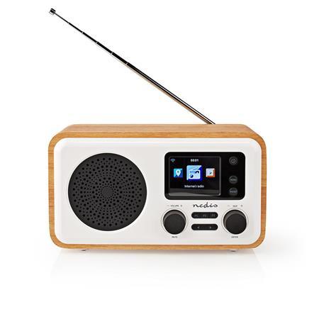 "Nedis RDIN2000WT - Internetové Rádio - Stolní Provedení/Bluetooth/Wi-Fi/DAB+/ FM/Internet/2,4""/7W/Budík/Bílá/Dřevo"