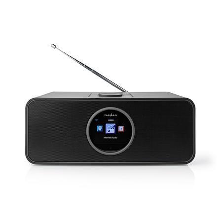 """Nedis RDIN4000BK - Internetové Rádio -Stolní Provedení/Bluetooth/Wi-Fi/FM/Internet/2,4""""/Časovač vypnutí/42W/Budík/Černá"""