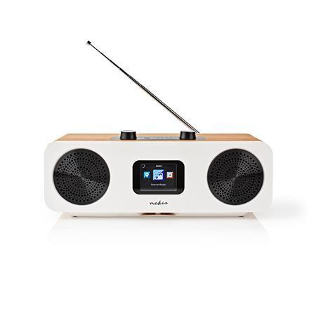 "Nedis RDIN2500WT - Internetové Rádio - Stolní Provedení/Bluetooth/Wi-Fi/DAB+/FM/Internet/2,4 ""/34W/Budík/Bílá/Dřevo"