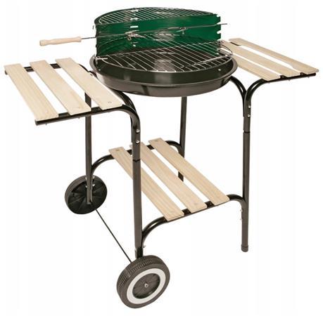 LANDMANN gril na dřevěné uhlí (vozík), kulatý, grilovací plocha o průměru 42 cm + 3 praktické police