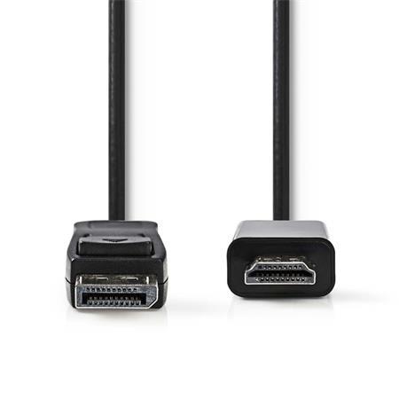 Nedis CCGB37100BK20 - DisplayPort - HDMI Kabel   DisplayPort Zástrčka - HDMI Konektor  4K@30Hz 2 m  Černá barva
