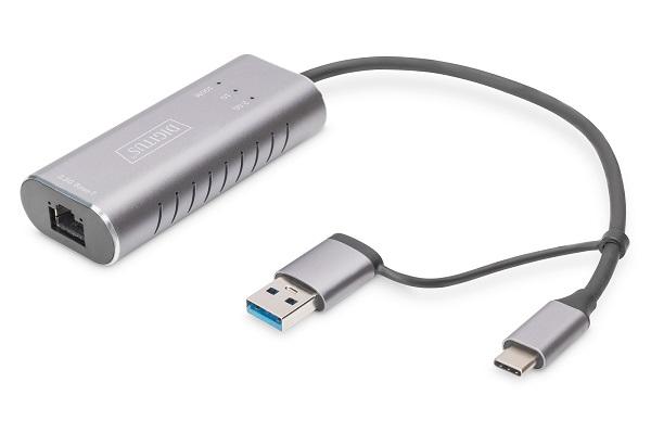 DIGITUS USB Type-C™ Gigabit Ethernet Adapter 2.5G, USB-C™ + USB A (USB3.1/3.0)